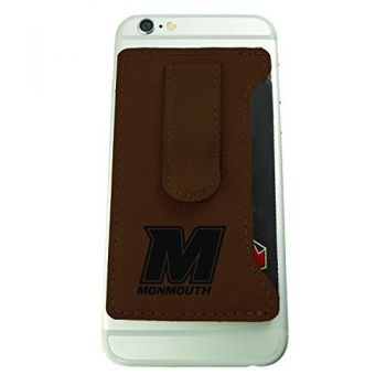 Monmouth University -Leatherette Cell Phone Card Holder-Brown