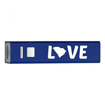 South Carolina-State Outline-Love-Portable 2600 mAh Cell Phone Charger-