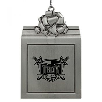 Troy University-Pewter Christmas Holiday Present Ornament-Silver