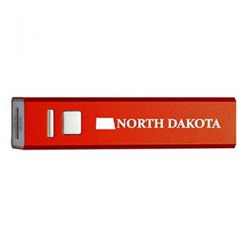 North Dakota-State Outline-Portable 2600 mAh Cell Phone Charger-