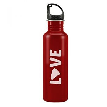 South Carolina-State Outline-Love-24-ounce Sport Water Bottle-Red