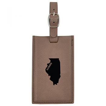 Illinois-State Outline-Leatherette Luggage Tag -Brown
