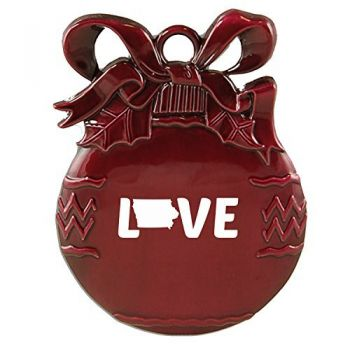 Iowa-State Outline-Love-Christmas Tree Ornament-Burgundy
