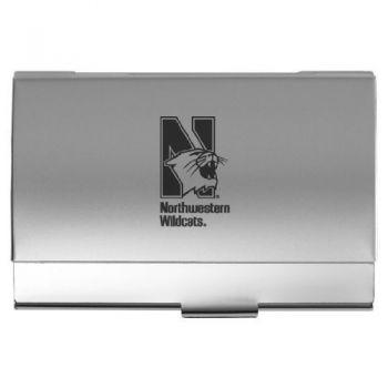 Northwestern University - Two-Tone Business Card Holder - Silver