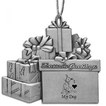 Pewter Gift Package Ornament-I love my Dog-Silver