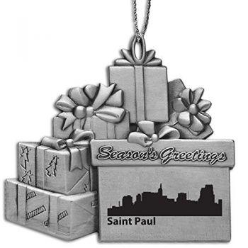 Pewter Gift Display Christmas Tree Ornament - Saint Paul City Skyline