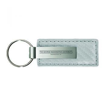 George Washington University-Carbon Fiber Leather and Metal Key Tag-White