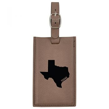 Texas-State Outline-Leatherette Luggage Tag -Brown
