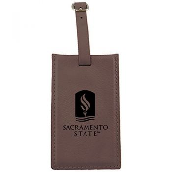 California State University -Leatherette Luggage Tag-Brown
