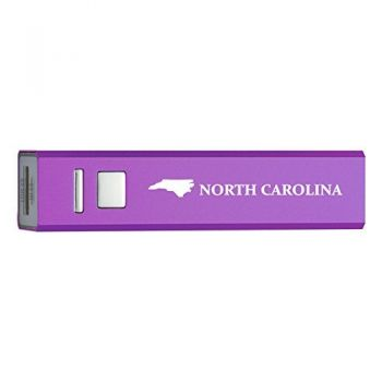 North Carolina-State Outline-Portable 2600 mAh Cell Phone Charger-
