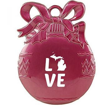 Michigan-State Outline-Love-Christmas Tree Ornament-Pink