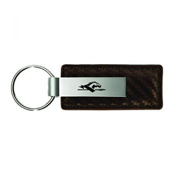 Longwood University-Carbon Fiber Leather and Metal Key Tag-Taupe