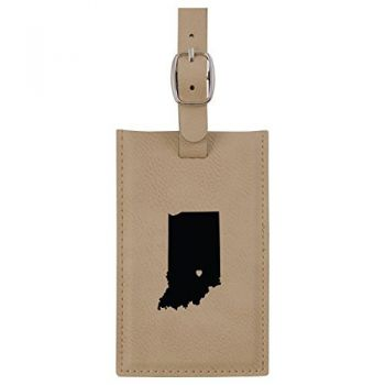 Indiana-State Outline-Heart-Leatherette Luggage Tag -Tan
