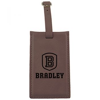 Bradley University -Leatherette Luggage Tag-Brown