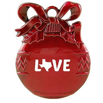 Texas-State Outline-Love-Christmas Tree Ornament-Red