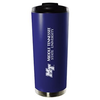 Middle Tennessee State University-16oz. Stainless Steel Vacuum Insulated Travel Mug Tumbler-Blue