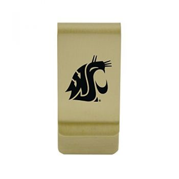 Wright State university|Money Clip with Contemporary Metals Finish|Solid Brass|High Tension Clip to Securely Hold Cash, Cards and ID's|Silver