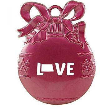 ND-State Outline-Love-Christmas Tree Ornament-Pink