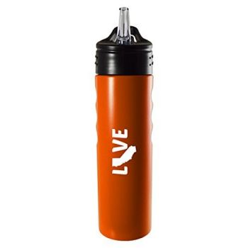 California-State Outline-Love-Stainless Steel Grip Water Bottle with Straw-Orange