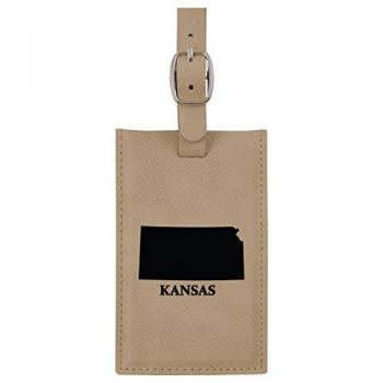 Kansas-State Outline-Leatherette Luggage Tag -Tan