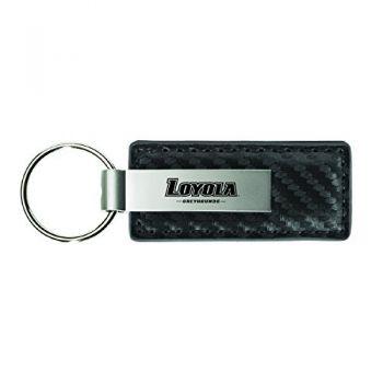 Loyola University Maryland-Carbon Fiber Leather and Metal Key Tag-Grey