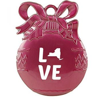New York-State Outline-Love-Christmas Tree Ornament-Pink