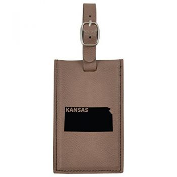 Kansas-State Outline-Leatherette Luggage Tag -Brown
