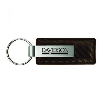 Davidson College-Carbon Fiber Leather and Metal Key Tag-Taupe