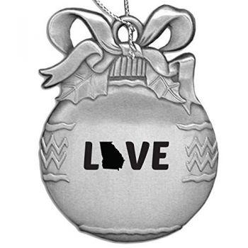 Georgia-State Outline-Love-Christmas Tree Ornament-Silver