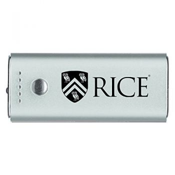 Rice University -Portable Cell Phone 5200 mAh Power Bank Charger -Silver