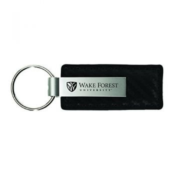 Wake Forest University-Carbon Fiber Leather and Metal Key Tag-Black
