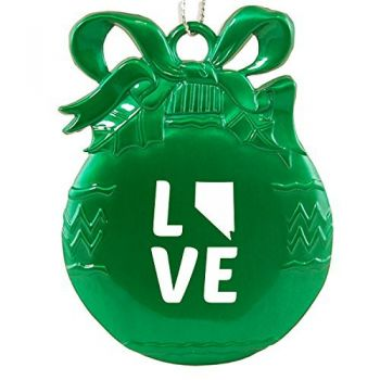 Nevada-State Outline-Love-Christmas Tree Ornament-Green