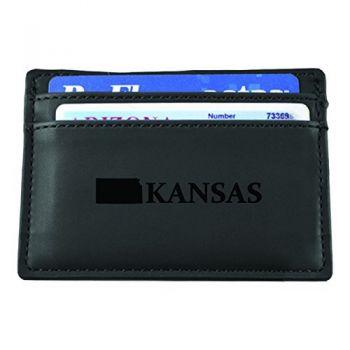 Kansas-State Outline-European Money Clip Wallet-Black