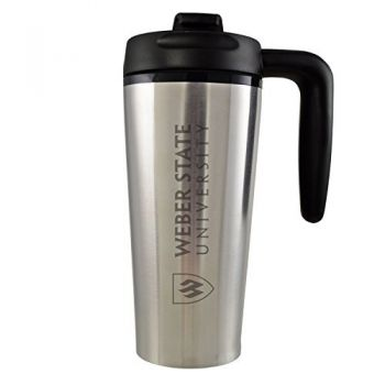 Weber State University -16 oz. Travel Mug Tumbler with Handle-Silver