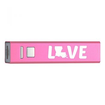 Louisiana-State Outline-Love-Portable 2600 mAh Cell Phone Charger-