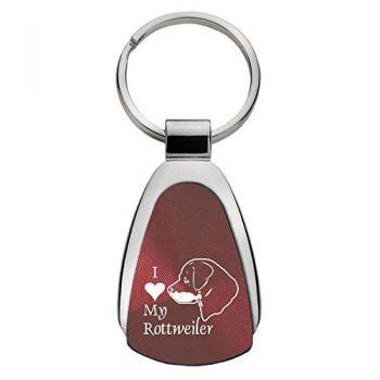 Teardrop Shaped Keychain Fob  - I Love My Rottweiler