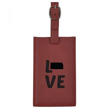 Kansas-State Outline-Love-Leatherette Luggage Tag -Burgundy
