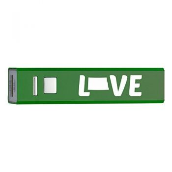 North Dakota-State Outline-Love-Portable 2600 mAh Cell Phone Charger-