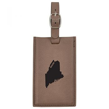 Maine-State Outline-Leatherette Luggage Tag -Brown
