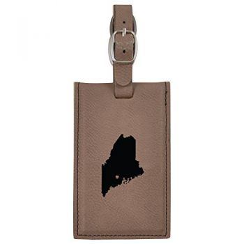 Maine-State Outline-Heart-Leatherette Luggage Tag -Brown