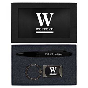 Wofford College-Executive Twist Action Ballpoint Pen Stylus and Gunmetal Key Tag Gift Set-Black