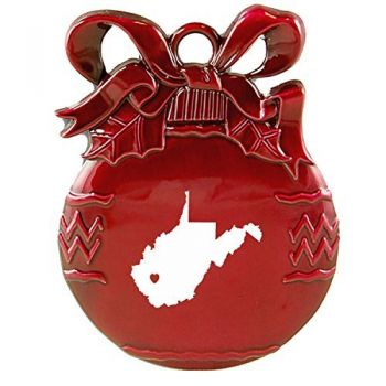 West Virginia-State Outline-Heart-Christmas Tree Ornament-Red
