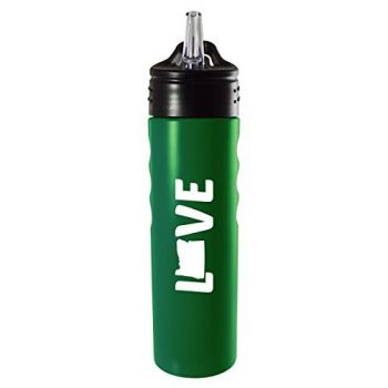 Oregon-State Outline-Love-Stainless Steel Grip Water Bottle with Straw-Green
