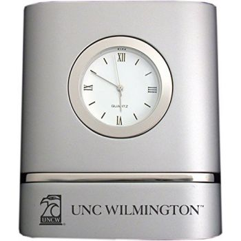 University of North Carolina Wilmington- Two-Toned Desk Clock -Silver