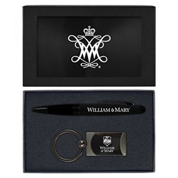 College of William & Mary-Executive Twist Action Ballpoint Pen Stylus and Gunmetal Key Tag Gift Set-Black