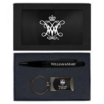 College of William & Mary-Executive Twist Action Ballpoint Pen Stylus and Gunmetal Key Tag Gift Set-Black