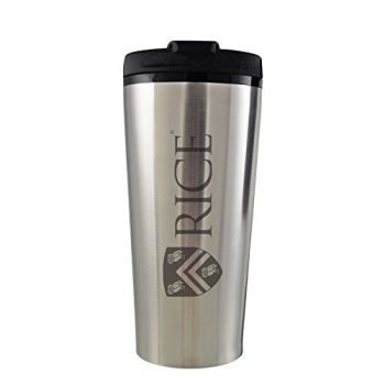 Rice University -16 oz. Travel Mug Tumbler-Silver
