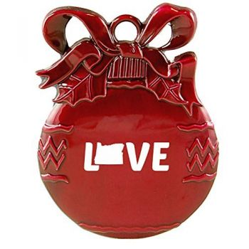 Oregon-State Outline-Love-Christmas Tree Ornament-Red