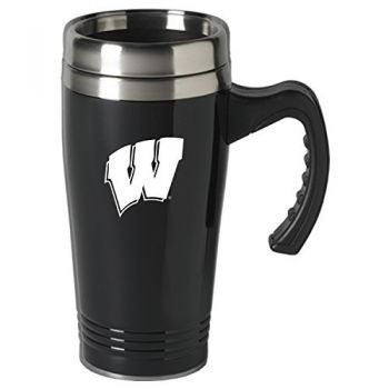 University of Wisconsin-16 oz. Stainless Steel Mug-Black