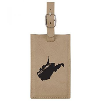 West Virginia-State Outline-Leatherette Luggage Tag -Tan